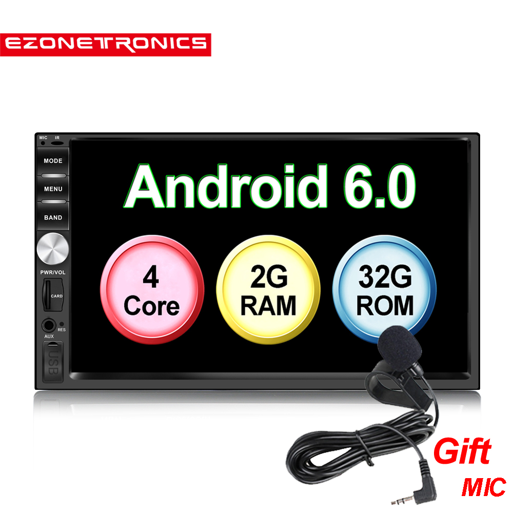 "7"" Android 6.0 Quad Core 2G+32G Universal Double 2Din Car Audio Stereo Bluetooth GPS Audio Navigation Radio Kits Car Multimedia"