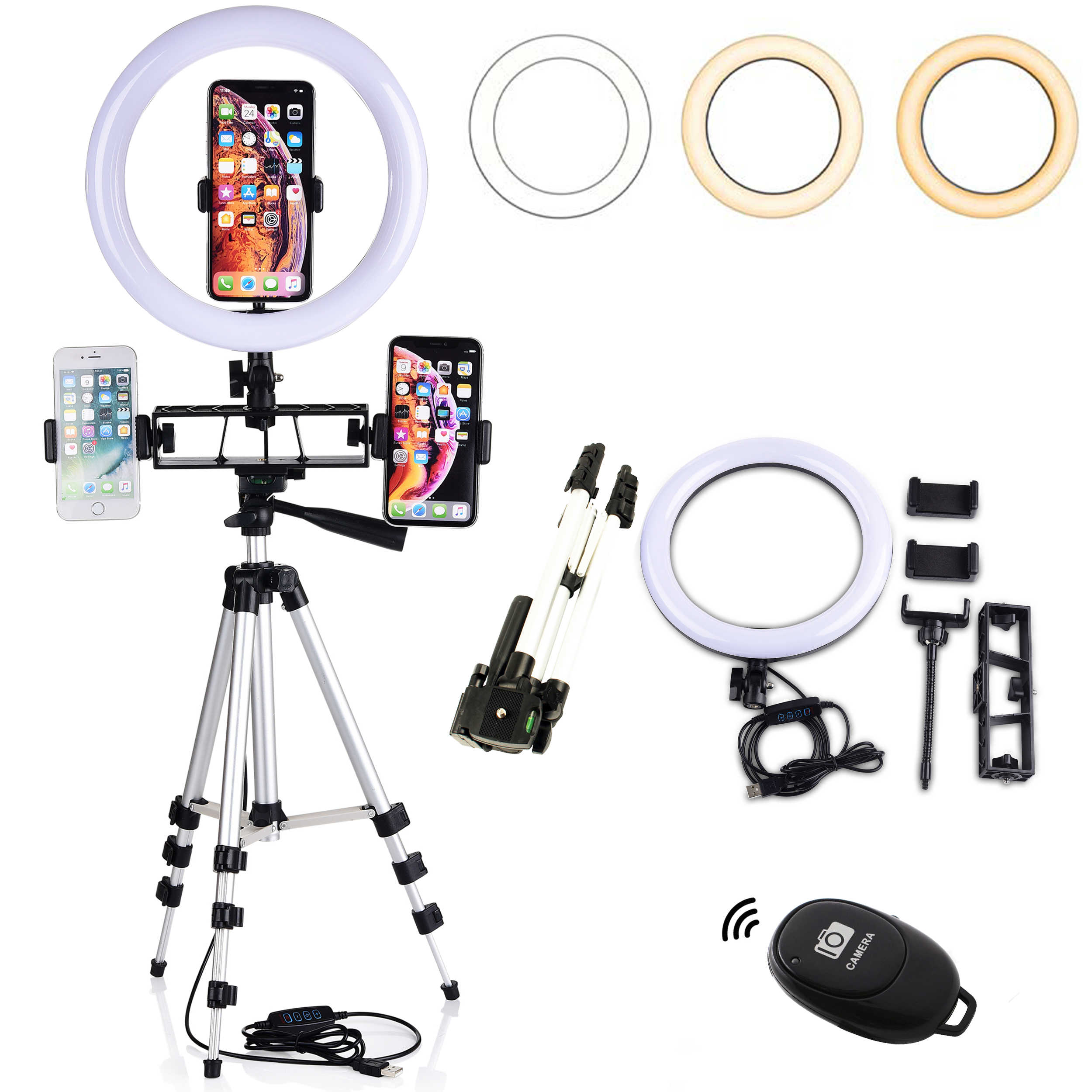 Fotografi Kamera LED Cincin Cahaya Dimmable dengan Bluetooth Remote Control YouTube Live Selfie Makeup Lampu untuk iPhone Android