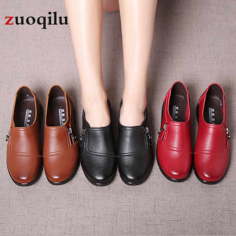 Vrouwen Schoenen 2020 Vrouwen Flats Schoenen Pu Leer Platform Platte Schoenen Rits Vrouwelijke Casual Schoenen Chaussures Femme