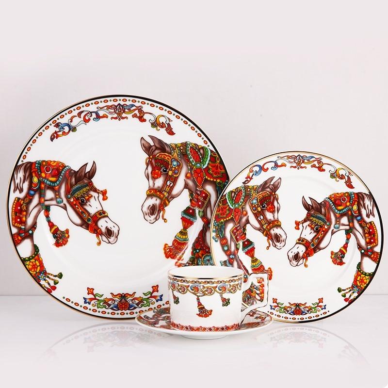 Ensemble de vaisselle en porcelaine d'os de haute qualité assiettes à dîner avec des plats et des assiettes de soucoupe de tasse à café - 3