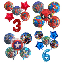 6ピース/セットスパイダーマンホイルバルーンアベンジャーズ番号バルーン誕生日パーティーの装飾スーパーhero少年子供のおもちゃベビーシャワーグロボス