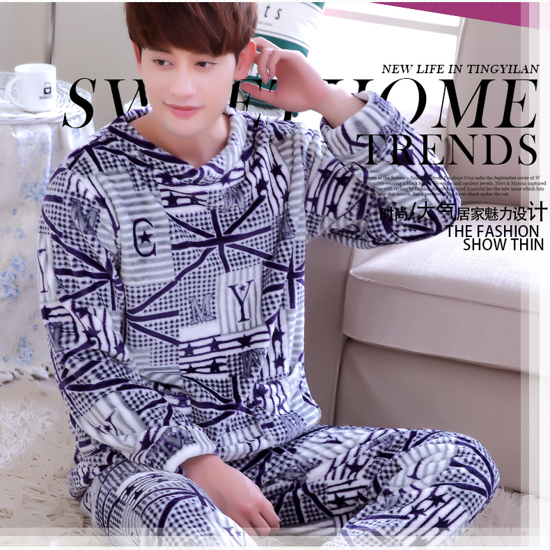 Male Coral Fleece Pajama Men's Thick Flange Homewear O Neck Long Sleeves Sleepwear Leisure Velvet Nightwear Plus Size D-2082