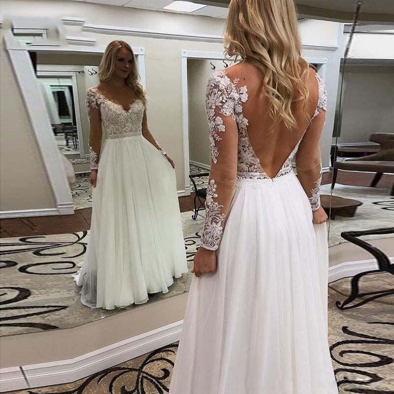 2019 Bohemian Wedding Dresses With Long Sleeve Backless Appliques A Line Sexy V Neck Wedding Gown Chiffon Boho Bridal Dress