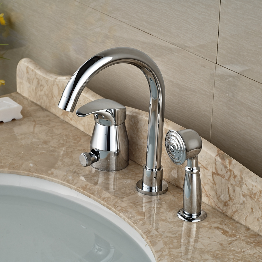 Wholesale And Retail Polished Chrome Deck Mounted Bathroom Tub Faucet Single Handle Solid Brass Mixer Tap W/ Hand Shower us free shipping wholesale and retail chrome finish bathrom sink basin faucet mixer tap dusl handle three holes wall mounted