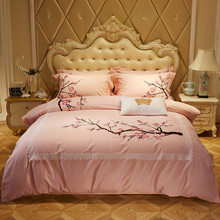 Luxury Egyptian cotton Bedding Set Pink Blue Grey King Queen size bed set Bed Sheet/Linens Oriental Embroidery Duver Quilt Cover(China)
