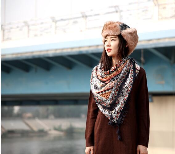 7e7cdb0da11 Fashion Women Big Square Printing Tassels Autumn Winter Retro Scarf Cotton  india floural Headband Wraps Foulard Femme