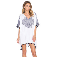 European New Pattern Blue And White Porcelain Totems Printing Tassels Will Code Bat Sleeve Easy Dress