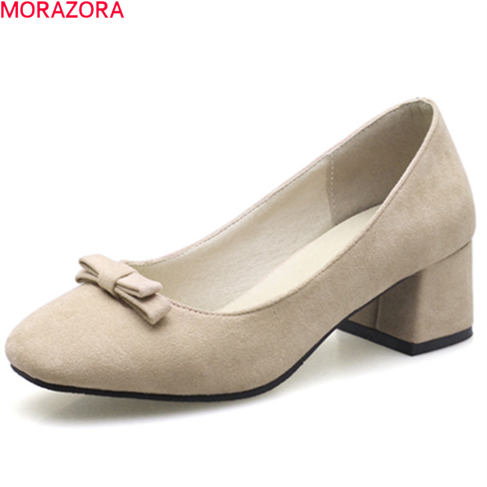 MORAZORA square heels summer spring pumps women shoes with butterfly knot square toe shallow slip on med heel woman shoes gold chain party 2017 spring summer casual shallow slip on square toe bling square heels women pumps free ship mujer pantufa