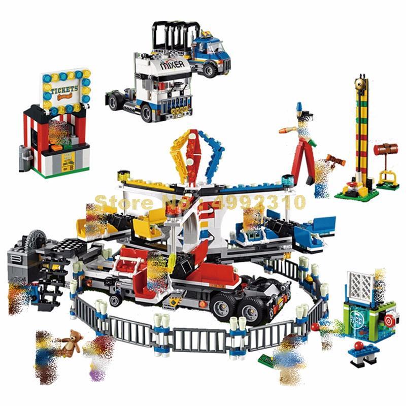 1858pcs street amusement park giant stride carnival 10 figures building blocks  10244 Bricks Toy-in Blocks from Toys & Hobbies    1