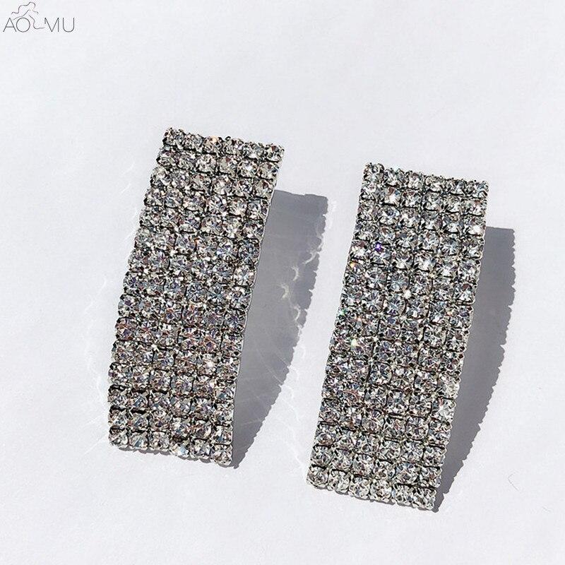 1 Pair Rhinestone Rectangle Drop Earrings Hollow Geometric Glitter Long Earrings