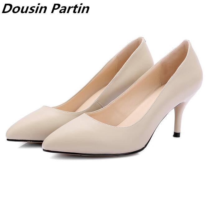 Dousin Partin Low heels Women Office Pumps Pointed Toe Pure Solid Color Women shoes N8745693
