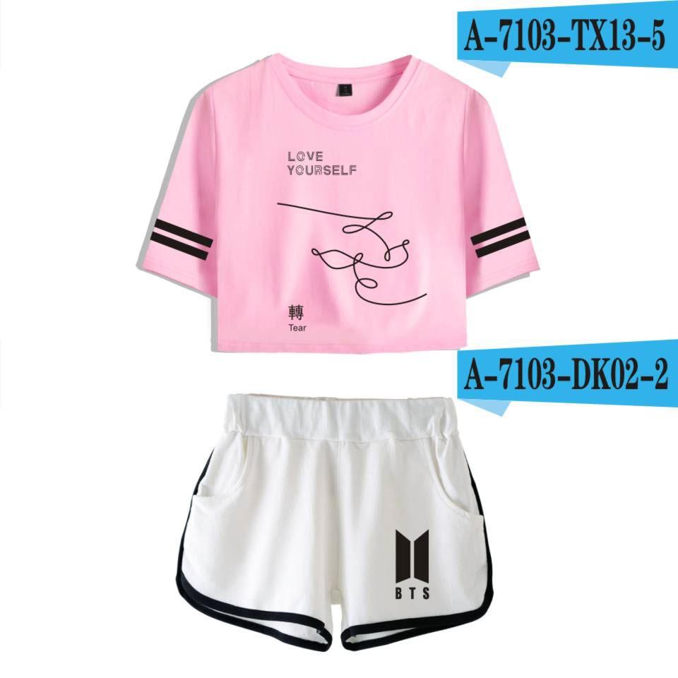 2018 BTS kpop crop top Rosa zwei stück set koreanische stil Kleidung bts Album LIEBE SELBST 2 stück set frauen kpop Sommer T-shirts