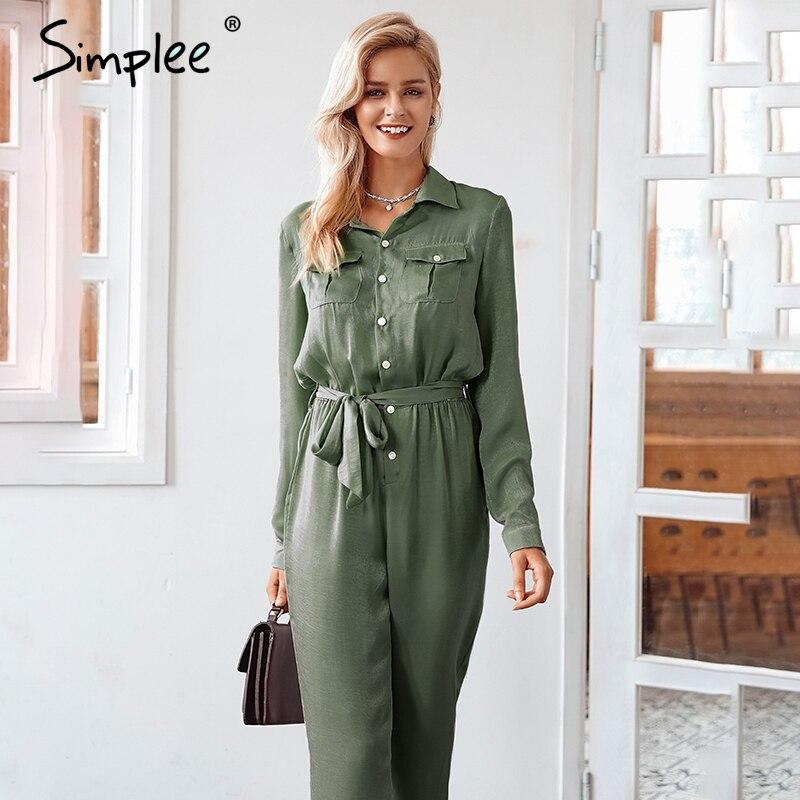 Simplee Elegant Sashes Buttons Satin Long Sleeve Women Jumpsuit Summer Pockets Elastic Waist Romper Office Ladies Playsuit 2018