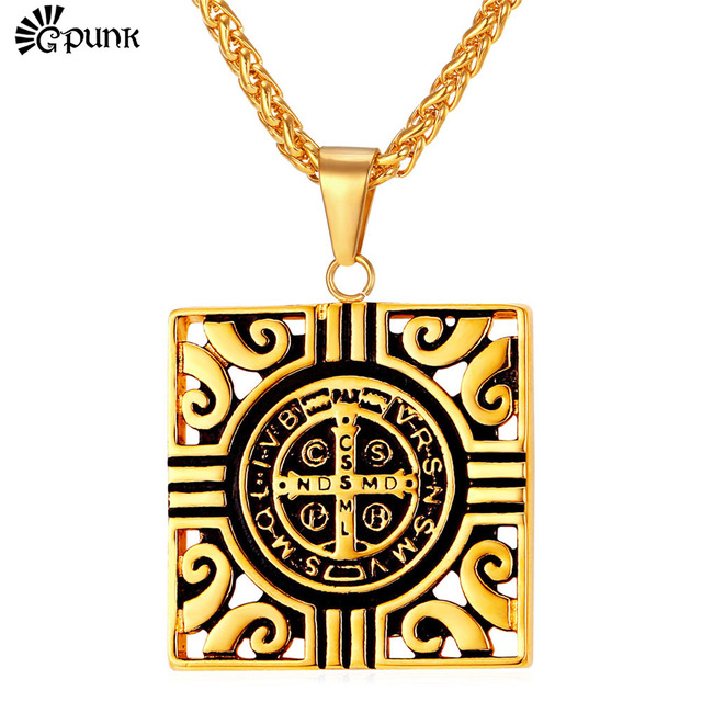 Square totem necklaces pendants for men stainless steel gold square totem necklaces pendants for men stainless steel gold color saint benedict medal cross religious aloadofball Choice Image