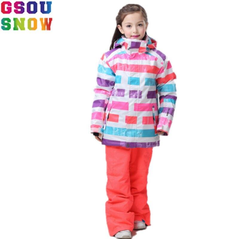 GSOU NEIGE Marque de Ski pour Enfants Costumes Filles veste de Ski Pantalon Imperméable Enfants Snowboard Veste Pantalon D'hiver Enfants Ski Costume