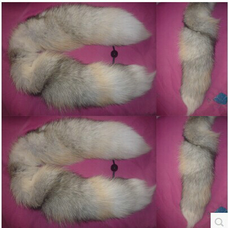Free shipping Special golden island tail fox fur collar scarf 100 cm natural color fashion models fox tail scarf collars