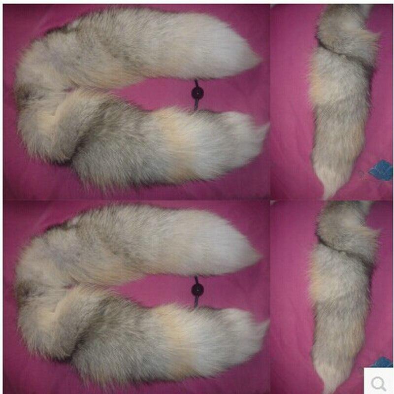Livraison gratuite spécial golden island queue de renard fourrure collier écharpe 100 cm couleur naturelle modèles de mode renard queue écharpe colliers
