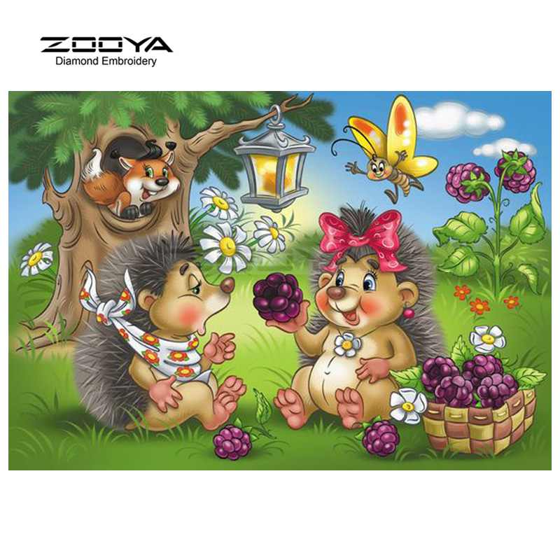 ZOOYA Diamond Embroidery 5D DIY Diamond Painting Hedgehog Bird Forest Diamond Painting Cross Stitch Rhinestone Decoration CJ610