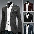 Inverno Blazer homens de tricô volta decorativo costura jaqueta Casual