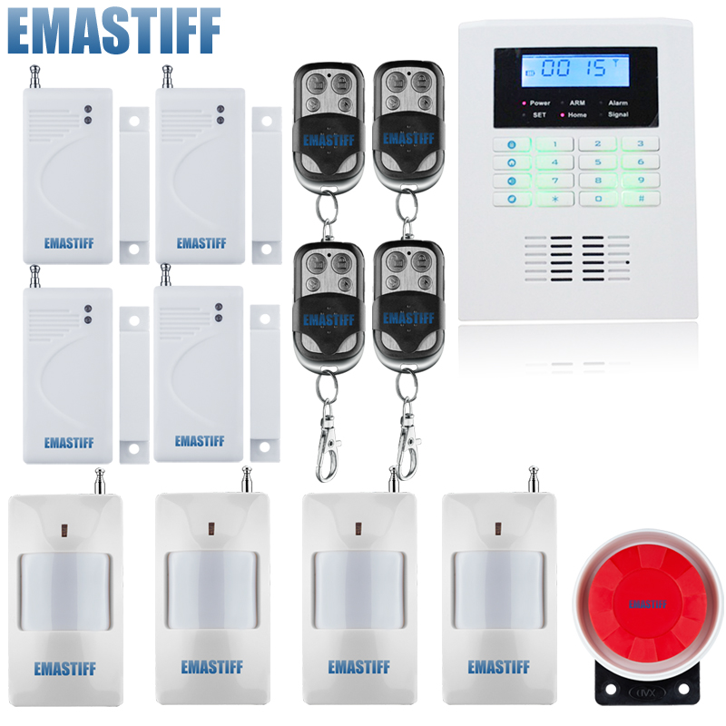 Wireless GSM and PSTN alarm system, with 99 Wireless defense zone and 2 wired zones,russian and english voice free shipping free shipping 99 wireless zone and 2 wired quad band lcd home security pstn gsm alarm system 3 pet immune pirs 5 new door sensor