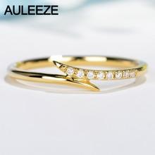 AULEEZE Real Diamond Ring 18K Yellow Gold Natural Diamond Wedding Band Pave Matching Band  Unique Unilateral Design Fine Jewelry