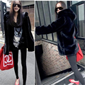 2016 Winter Warm Hooded Faux Fur Coat For Women Casual Loose Long Style Black Faux Fur Coat