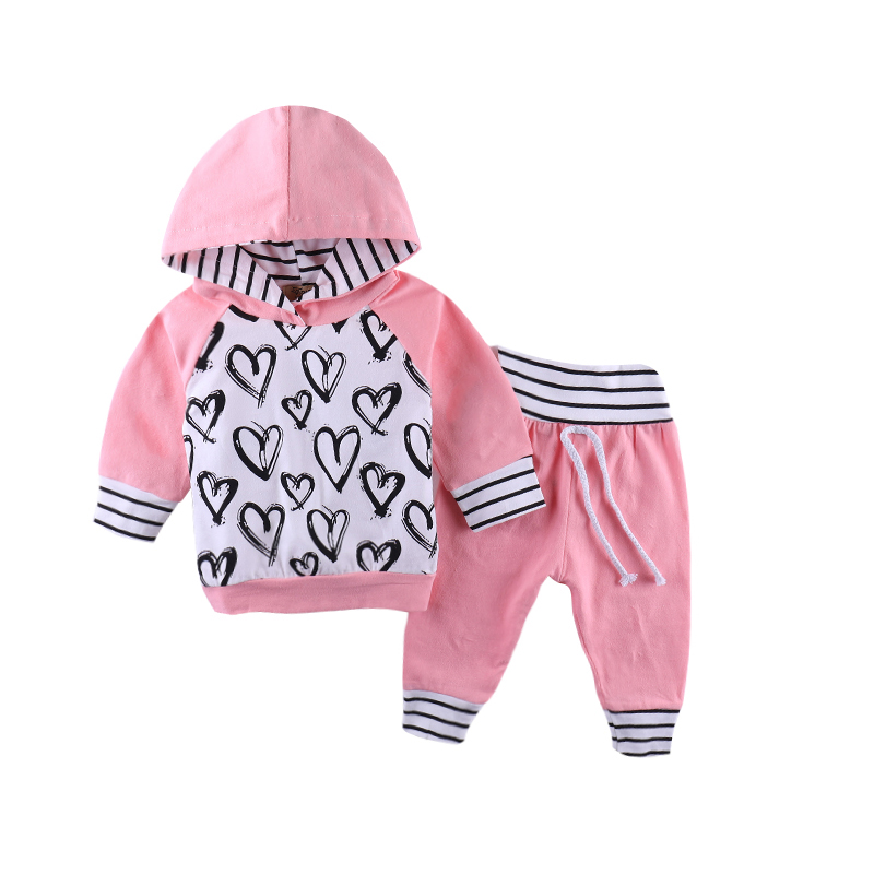 2018 Autumn Baby girls clothes set Heart Partten 2pcs set Hoodie Tops+Pants Infant Toddle Kids baby girl clothing outfit