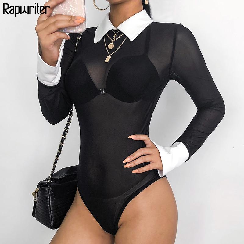 Rapwriter seksi şeffaf ağ panelli sıska turn-aşağı yaka Bodysuits kadınlar 2020 yaz uzun kollu açık Crotch Bodysuit