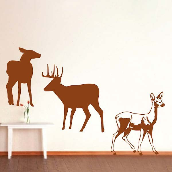 removable deers silhouette art clings wall decals home livingroom animals cool decor vinyl wall mural sticker