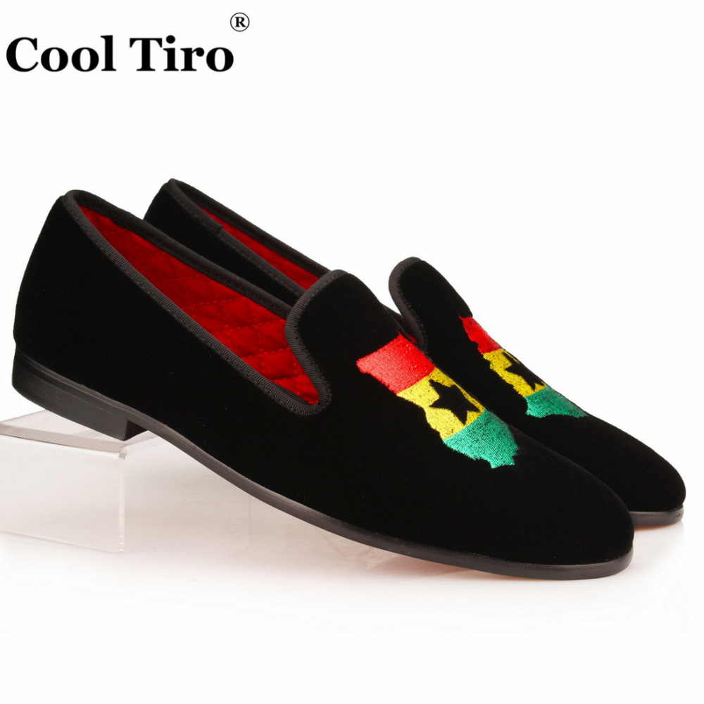 Cool Tiro Formal Slippers Embroidery Map Men Loafers Moccasins Men s Black Velvet Dress Shoes Gentlemen