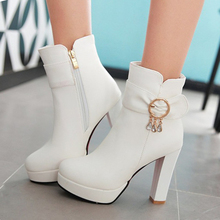Korean Bow Female Winter High-heeled Boots Spring And Autumn 2016 Platform Booties With Thick Heel Pink White Black Shoes