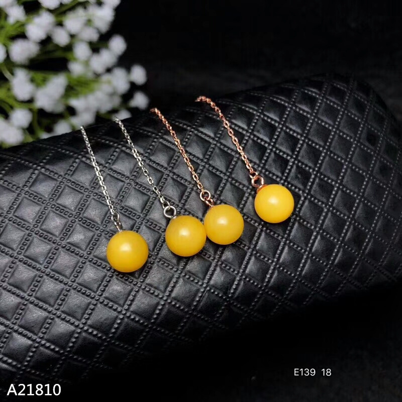 KJJEAXCMY fine jewelry 925 pure silver wants natural honey wax, amber, female ear stud ear thread.