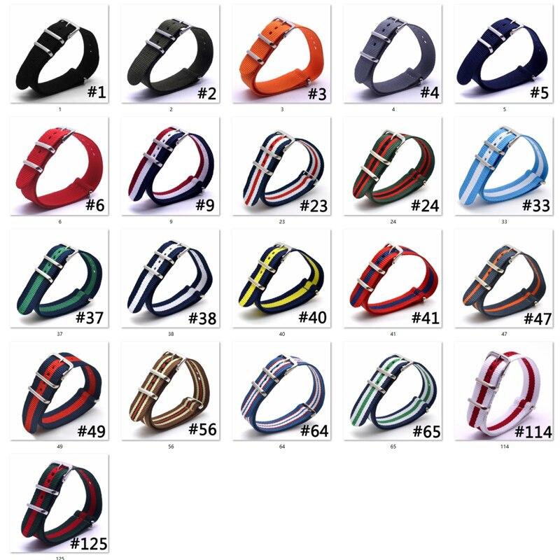 Смотреть группы роскоши 100 шт. нейлоновая ткань 16 мм серебряной пряжкой армии военные часы аксессуары в разноцветную полоску ремешки Sport Band