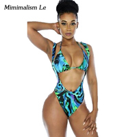 Minimalism Le Brand 7 New Bikini 2017 Push Up Print Backless Swimwear Women Swimsuit Sexy High