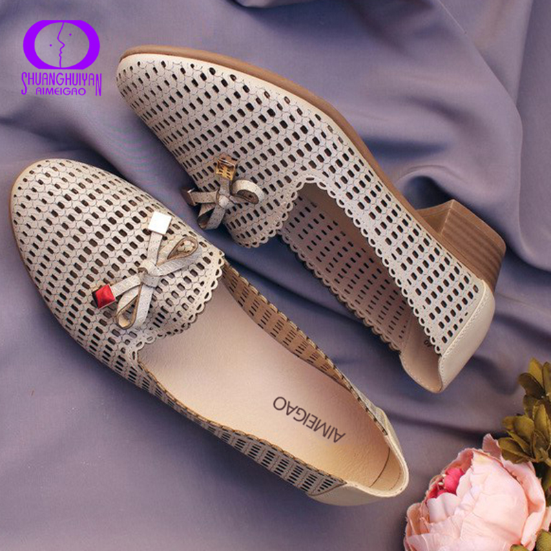 AIMEIGAO High Quality Big Size Women Sandals Soft Leather Comfortable Med Heels Shoes Square Heels Sandals Plus Size Shoes
