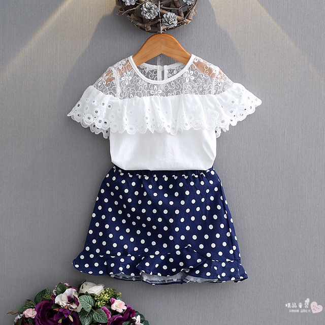 e8f4bec56 2018 New Style Toddler Girl Summer Children Clothing Sets 2PCS Lace Short + skirt Baby Girls Cloth Suits Kids Cloth 3-8Y