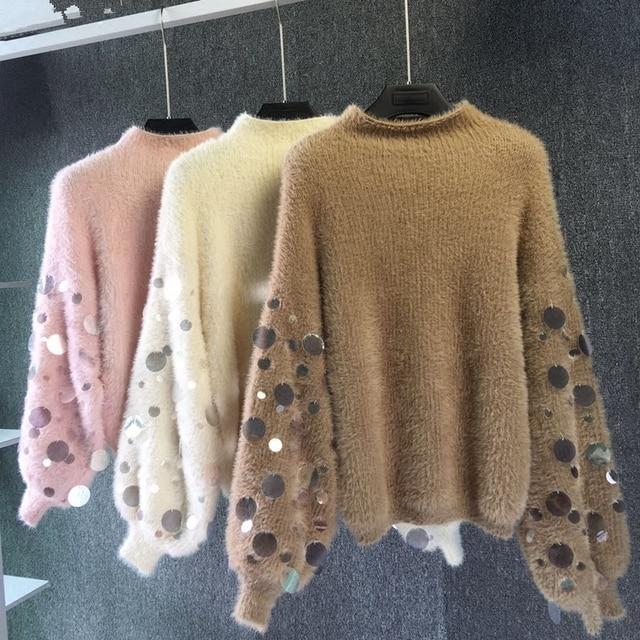 Новинка 2017 зима полу Водолазка свободные вязать блесток Фонари рукав волосатые женский свитер