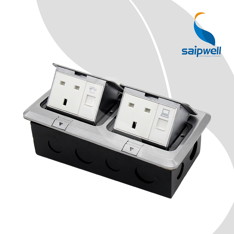 Prise de courant électrique de luxe SPD-3F/AC2, avec 2 prises de Style britannique, 1 téléphone RJ11 et 1 interface réseau RJ45