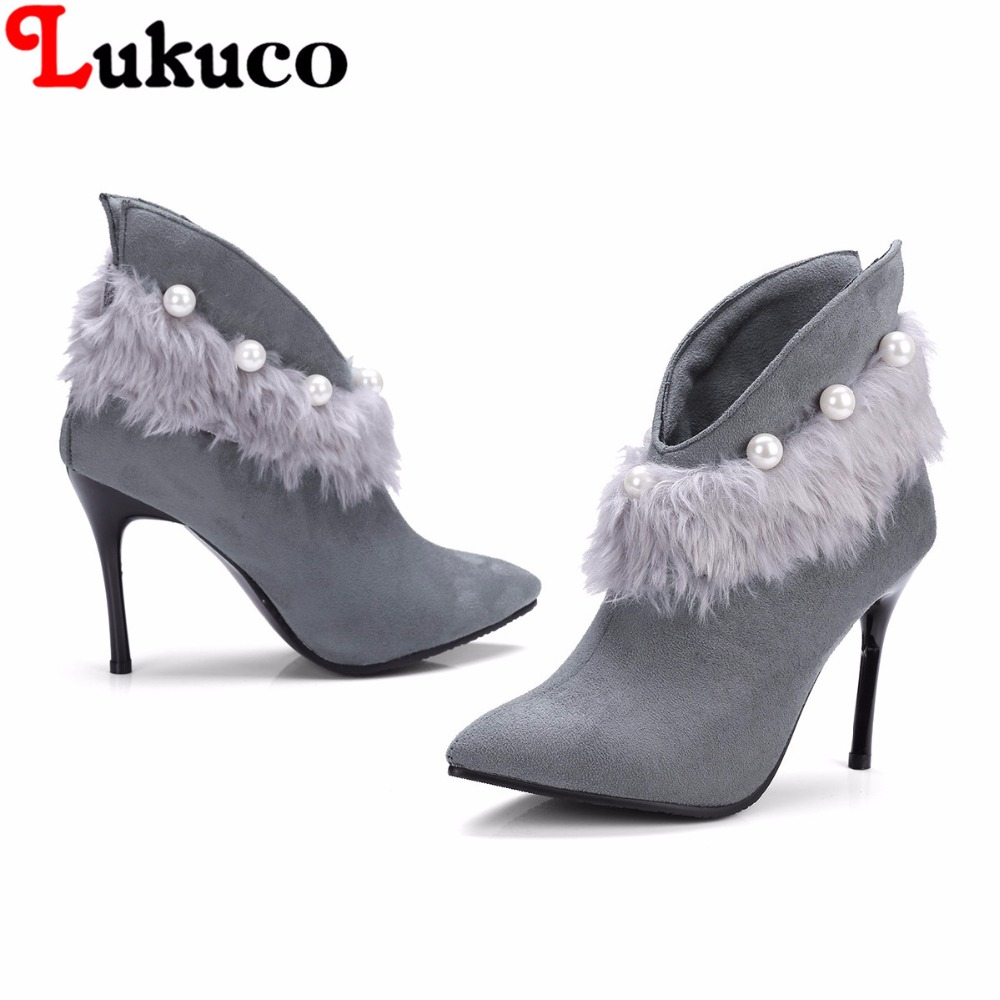 2018 concise lady ankle boots large CN size 36 37 38 39 40 41 42 43 string bead design w ...