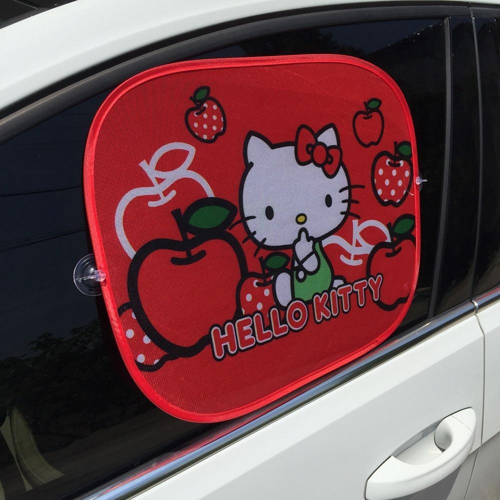 2ピース赤いハローキティ車のサンシェイドフロントガラスかわいい漫画