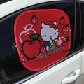 2PCS RED HELLO KITTY Car Windshield Car Sun Shade Cute Cartoon Car Styling Rear Side Sunshade Protect Window Film 44cm*36cm