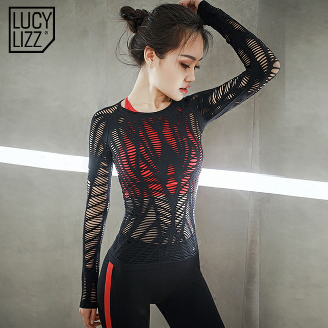 b0f08d522b592 Women Mesh Hollow Out Yoga Top Full Sleeve Sport T Shirt Quick Dry Fitness  Clothing Sports