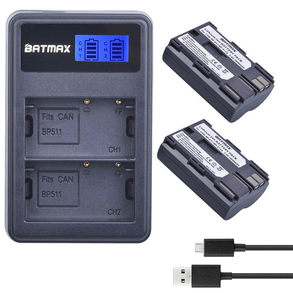 2X BP-511A BP-511 BP 511 511A BP511A Batterie Bateria + LCD Double USB Chargeur pour Canon G6 G5 G3 G2 G1 EOS 300D 50D 40D 30D 20D 5D