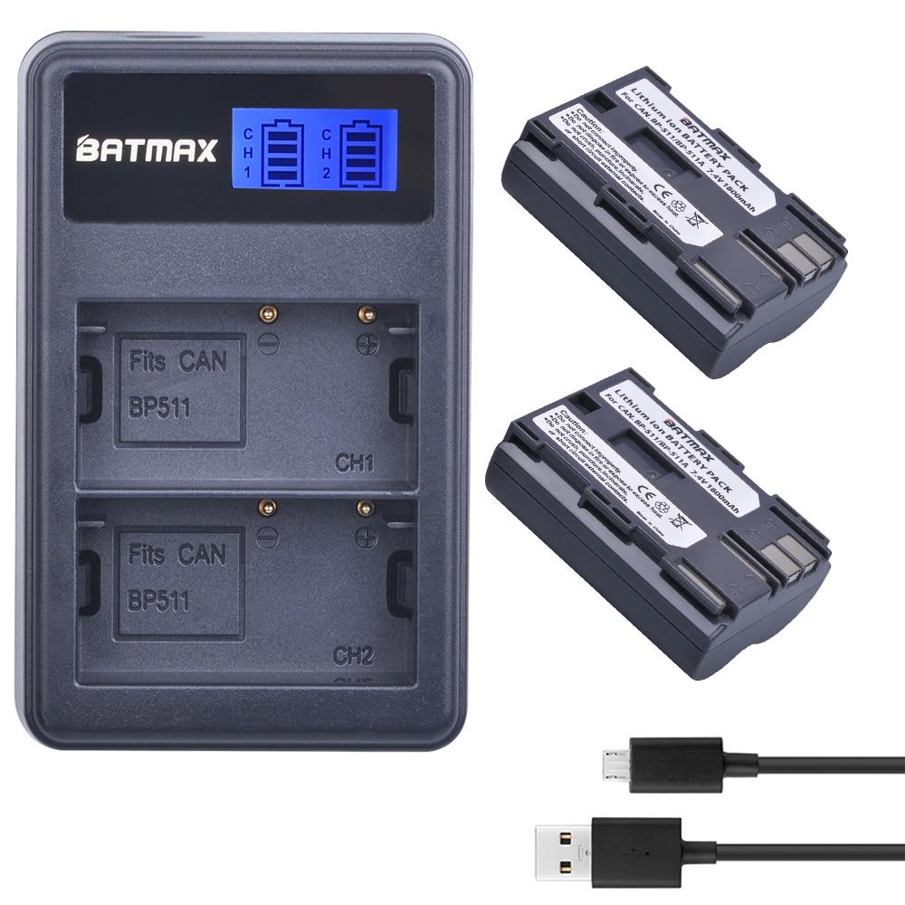 2X BP-511A BP-511 BP 511A BP511A Batteria Bateria + LCD Dual USB Charger per Canon G6 G5 G3 G2 G1 EOS 300D 50D 40D 30D 20D 5D