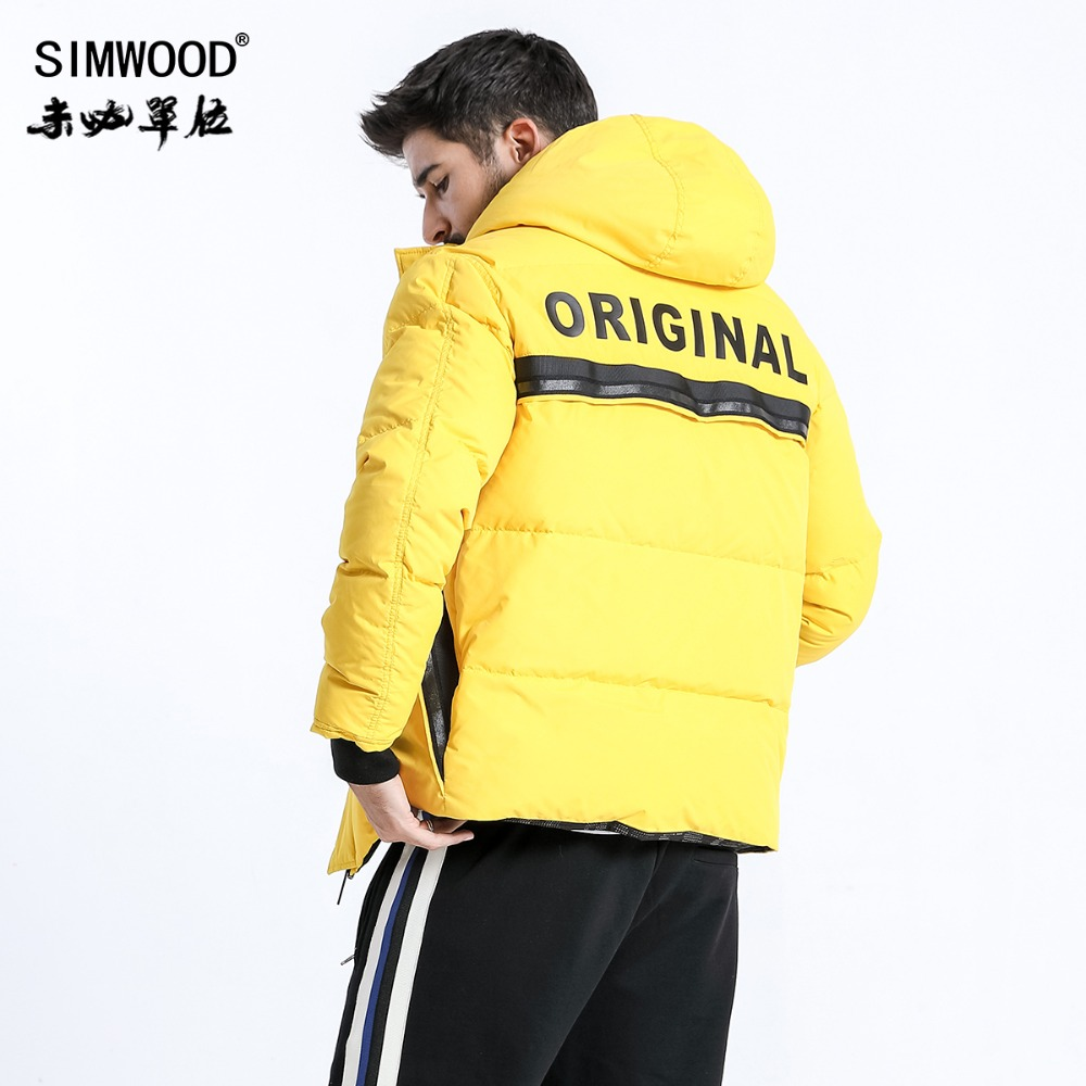 SIMWOOD 2018 Winter Fashion White Duck Down Coats Men Hip Hop Letter Jacket High Quality Parka Slim Fit Brand Clothing 180433