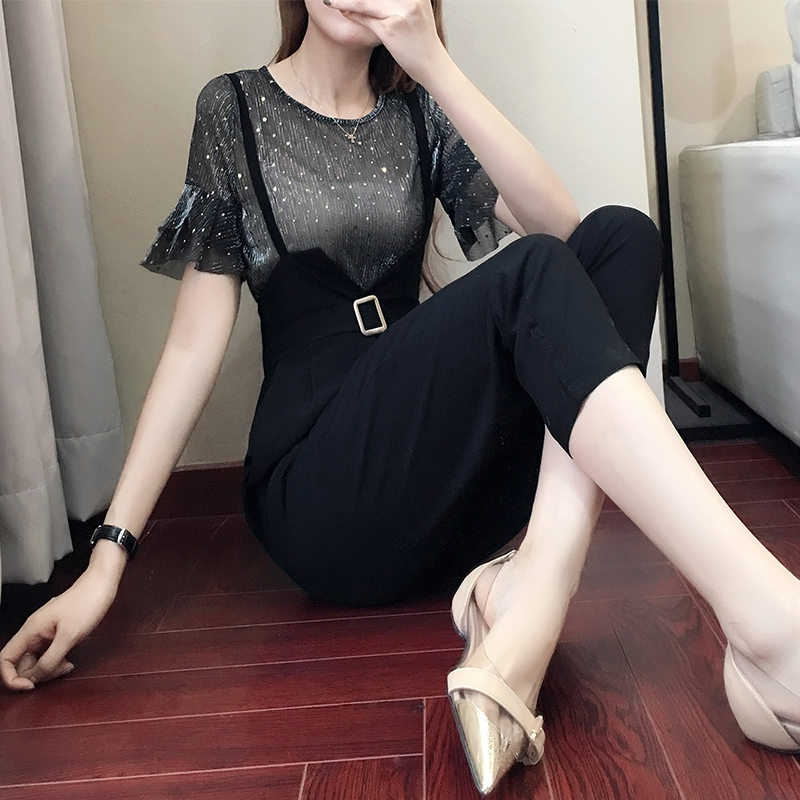 Casual women 2 pieces pant sets 2018 summer new fashion ruffles sleeved and black pencil pants lady clothing sets 5