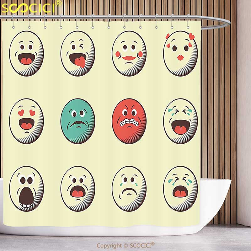 US $26 17 47% OFF|Fun Shower Curtain Emoji Cartoon Like Vintage Old Smiley  Faces with Angry Sad Nervous Mood Expression Print Multicolor Bathroom-in