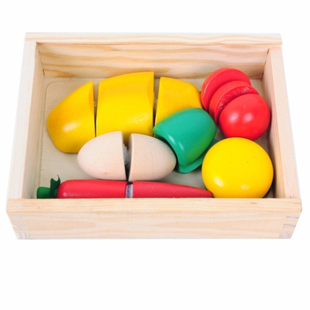 A96 Classy 1 set Wooden Fruit Vegetable Food Kids Role Play Children Kitchen Cutting Toy Set