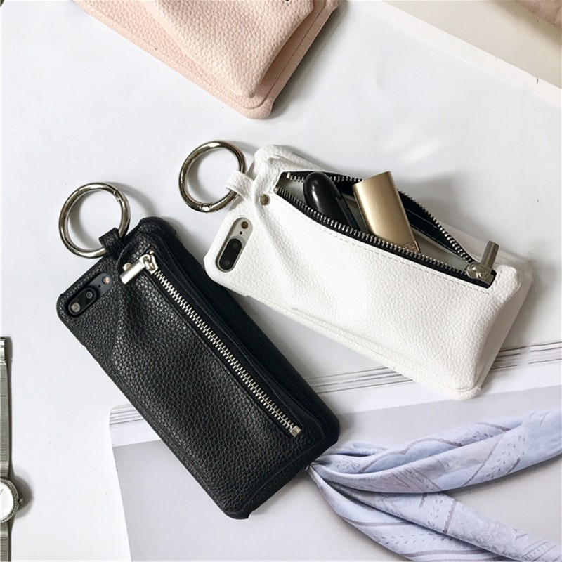 For iphone 6 6plus 6s plus 7 7plus Luxery PU Leather fashion brand vintage zipper wallet plastic phone shell case back cover
