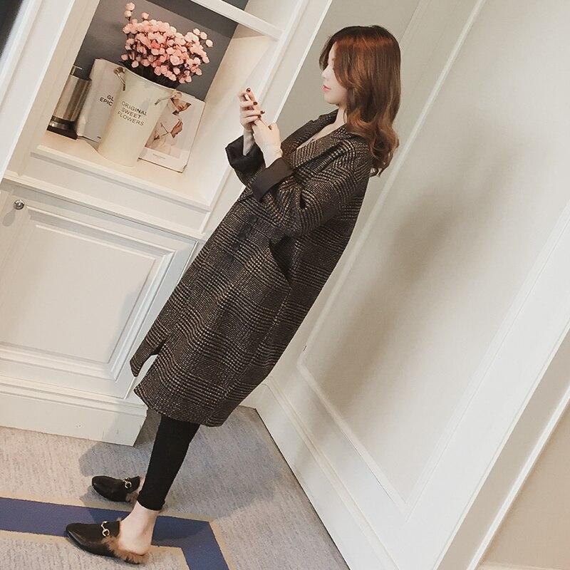 Style Hiver Color coréen Picture Costume Femmes Manteau 2019 Mode Long Longues De Nouvelle Col Laine Veste Wyt208 Genoux Cocon Plaid Manches Automne 51qS8